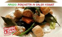 porchetta in salsa yogurt e verdure saltate